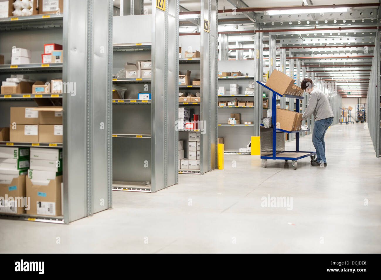 Female warehouse worker collecting orders on delivery trolley - Stock Image