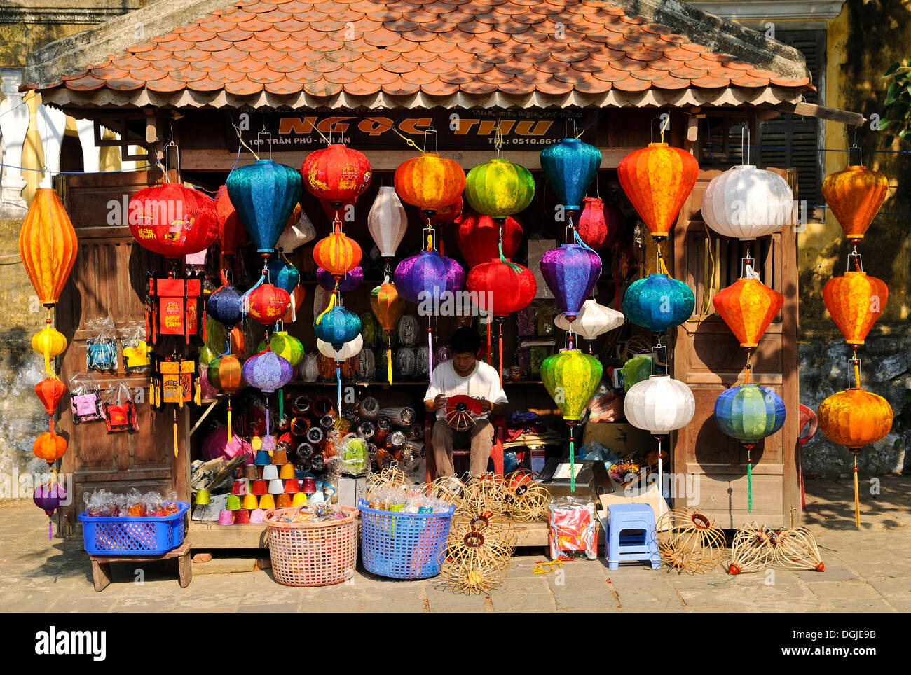 Typical shop with lanterns, Hoi An, Vietnam, Southeast Asia - Stock Image