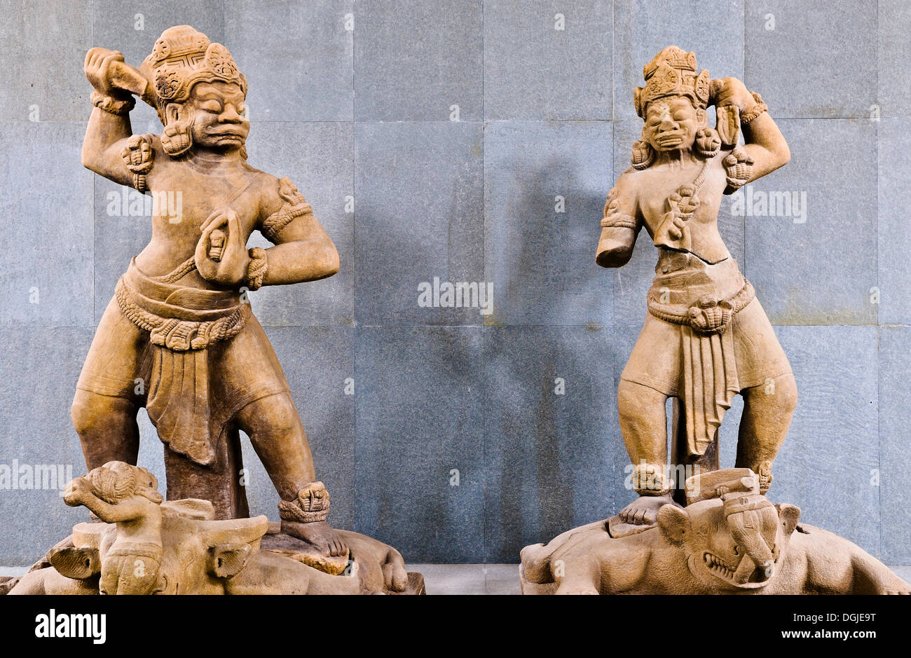 Statues of Dvarapala, demigod who guards the entrance, Cham Museum, Da Nang, Vietnam, Southeast Asia - Stock Image