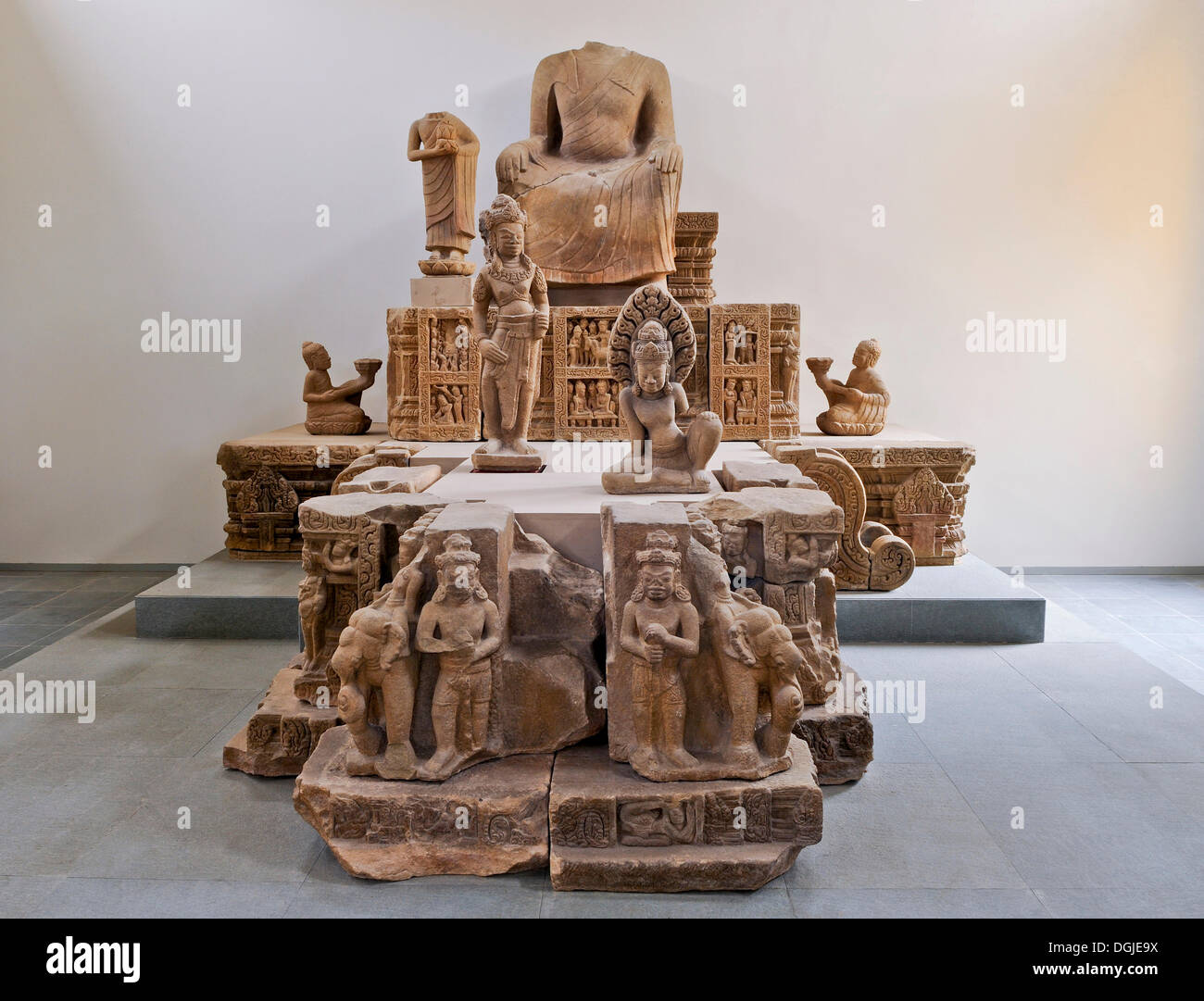 Collection of remains of the Buddhist center of Dong Duong, Cham Museum, Da Nang, Vietnam, Southeast Asia - Stock Image