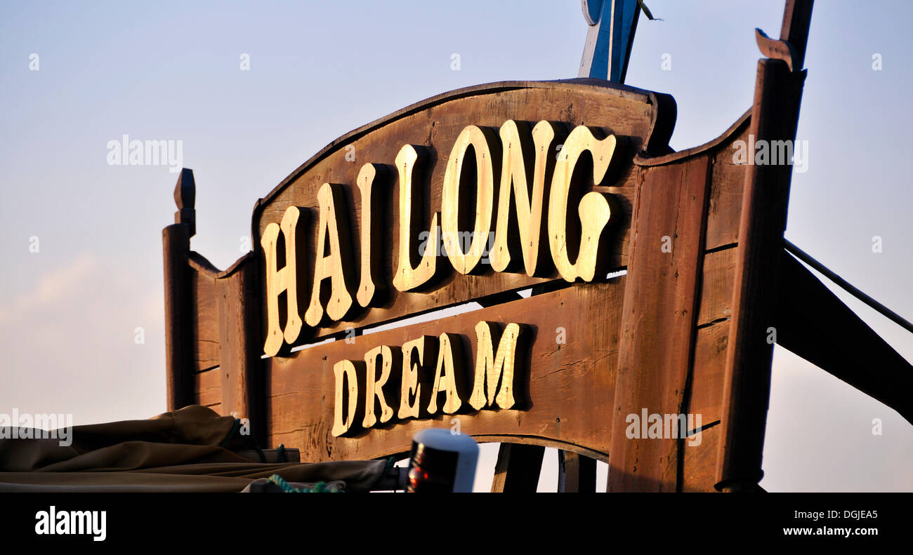 Hailong Dream, sign on a junk, Halong Bay, Vietnam, Southeast Asia - Stock Image