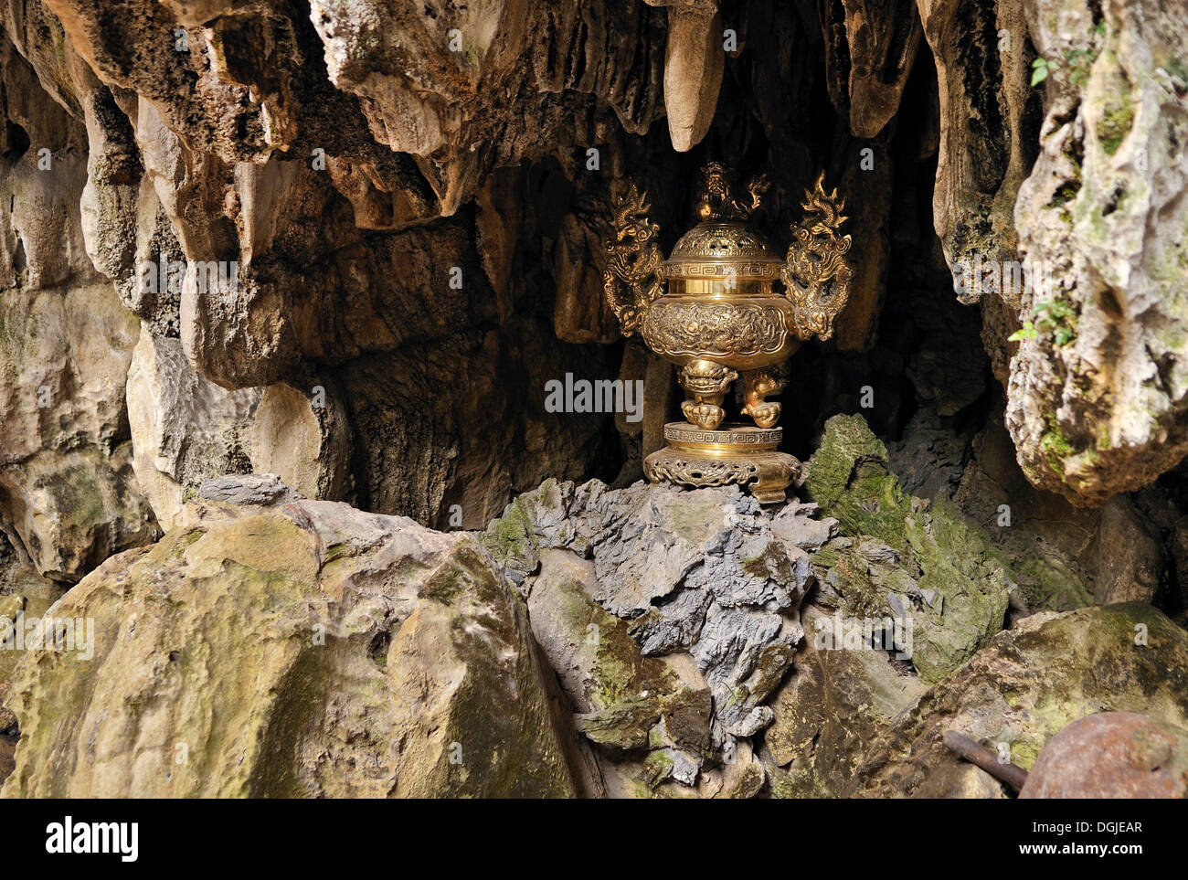 Holy chalice in the Huong Tich Pagoda, Perfume Pagoda, near Ninh Binh, dry Halong Bay, Vietnam, Southeast Asia - Stock Image