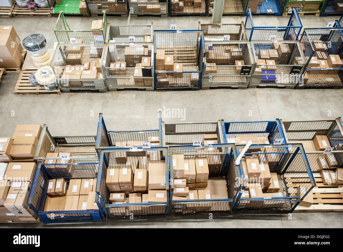Assembled orders in distribution warehouse - Stock Image