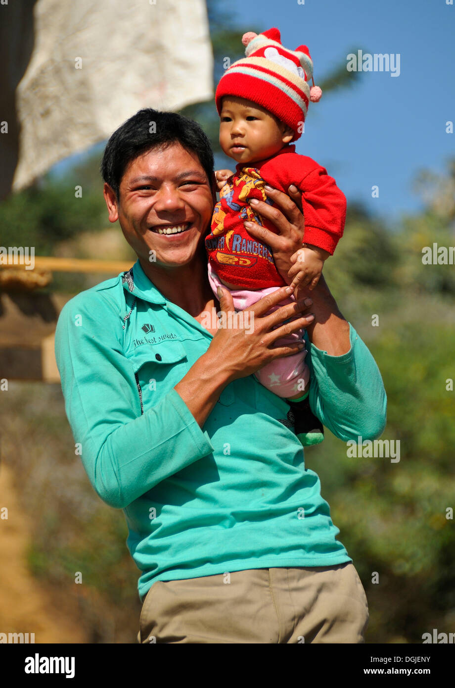 Father and child, ethnic minority, Mai Chau Valley, Vietnam, Asia - Stock Image