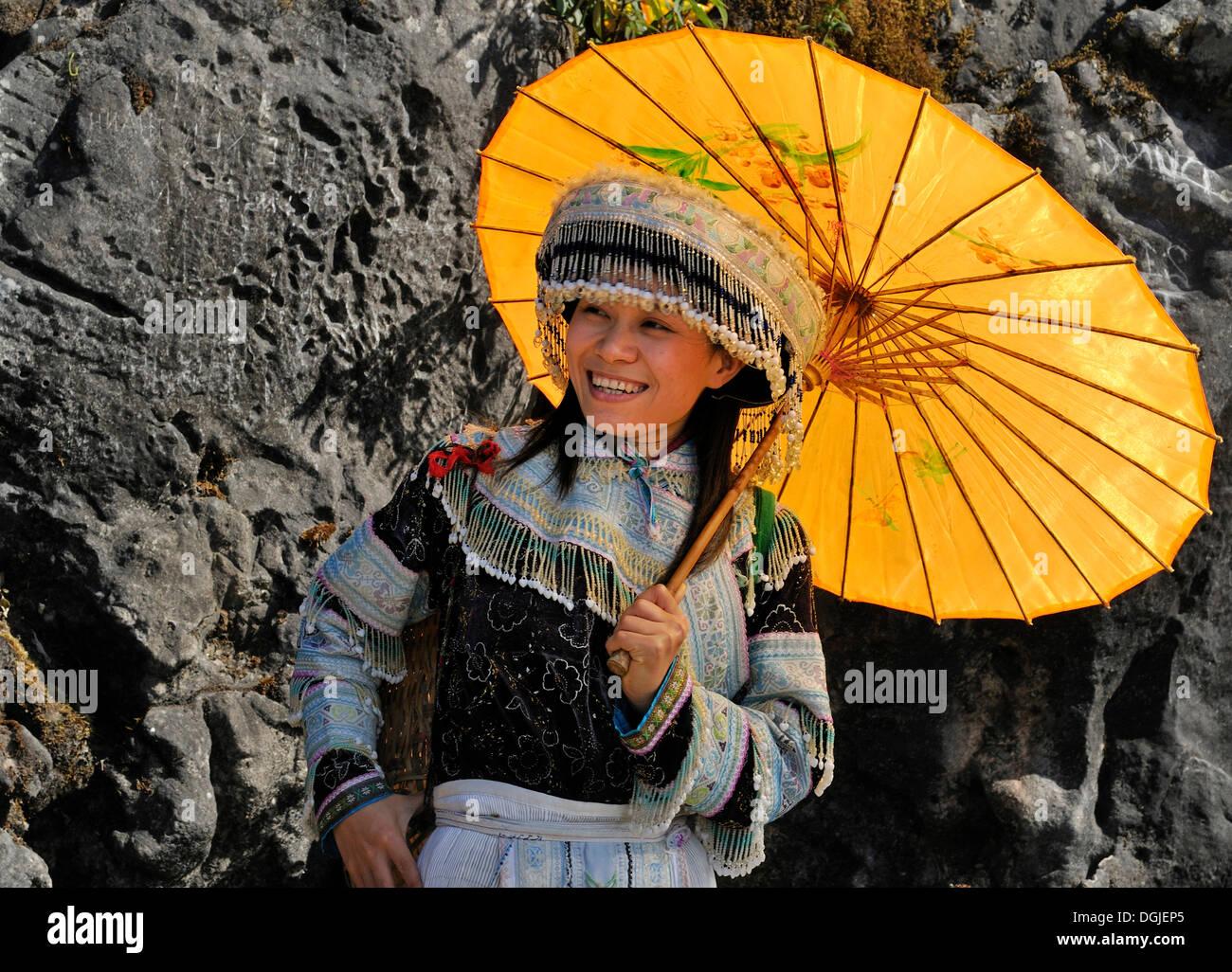 Tourist wearing a traditional costume, Sapa, Vietnam, Asia Stock Photo