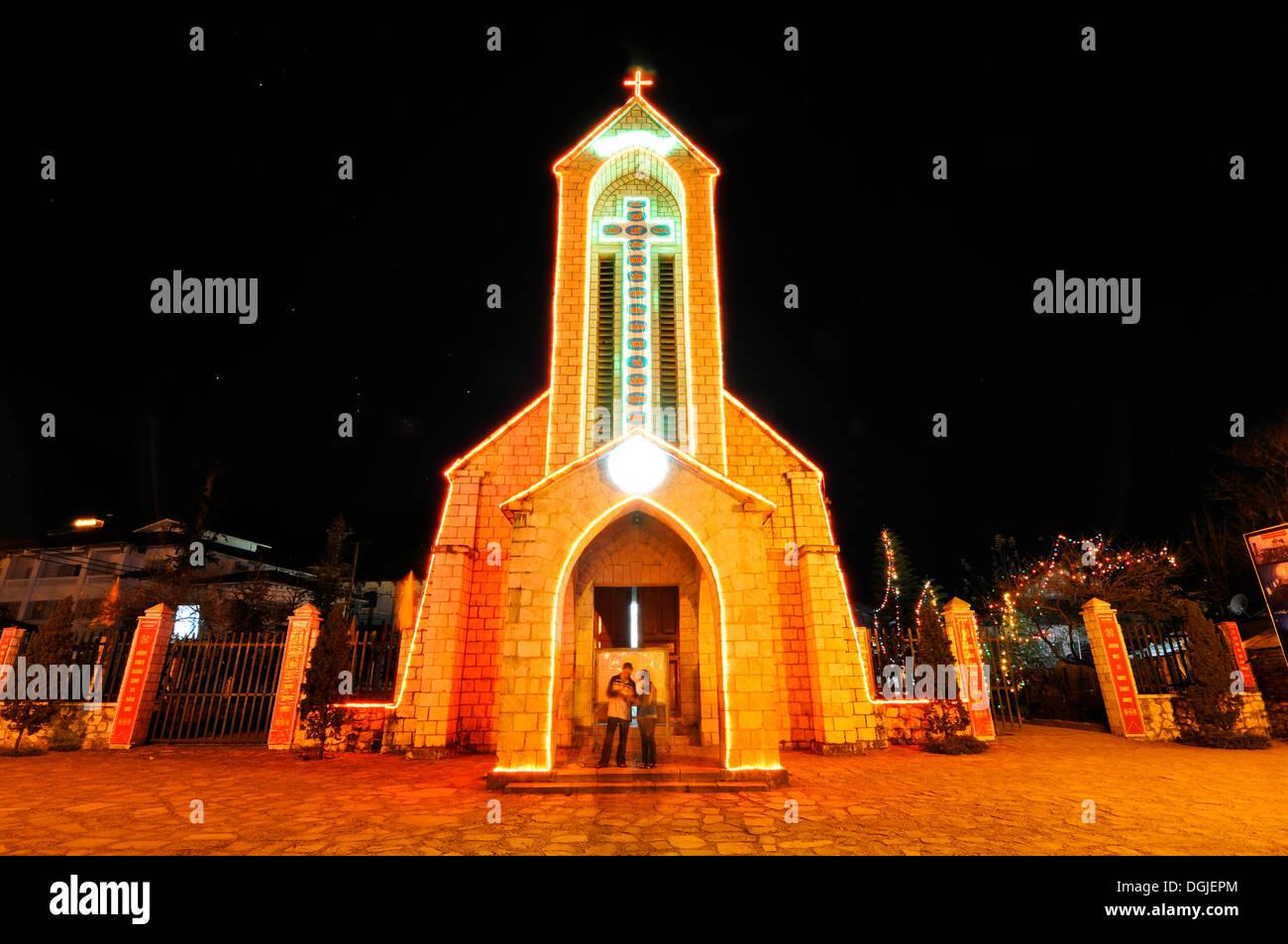 Famous French Church, Nha tho da Sa Pa, Thi tran Sapa, Sapa or Sa Pa, Lao Cai province, northern Vietnam, Vietnam - Stock Image