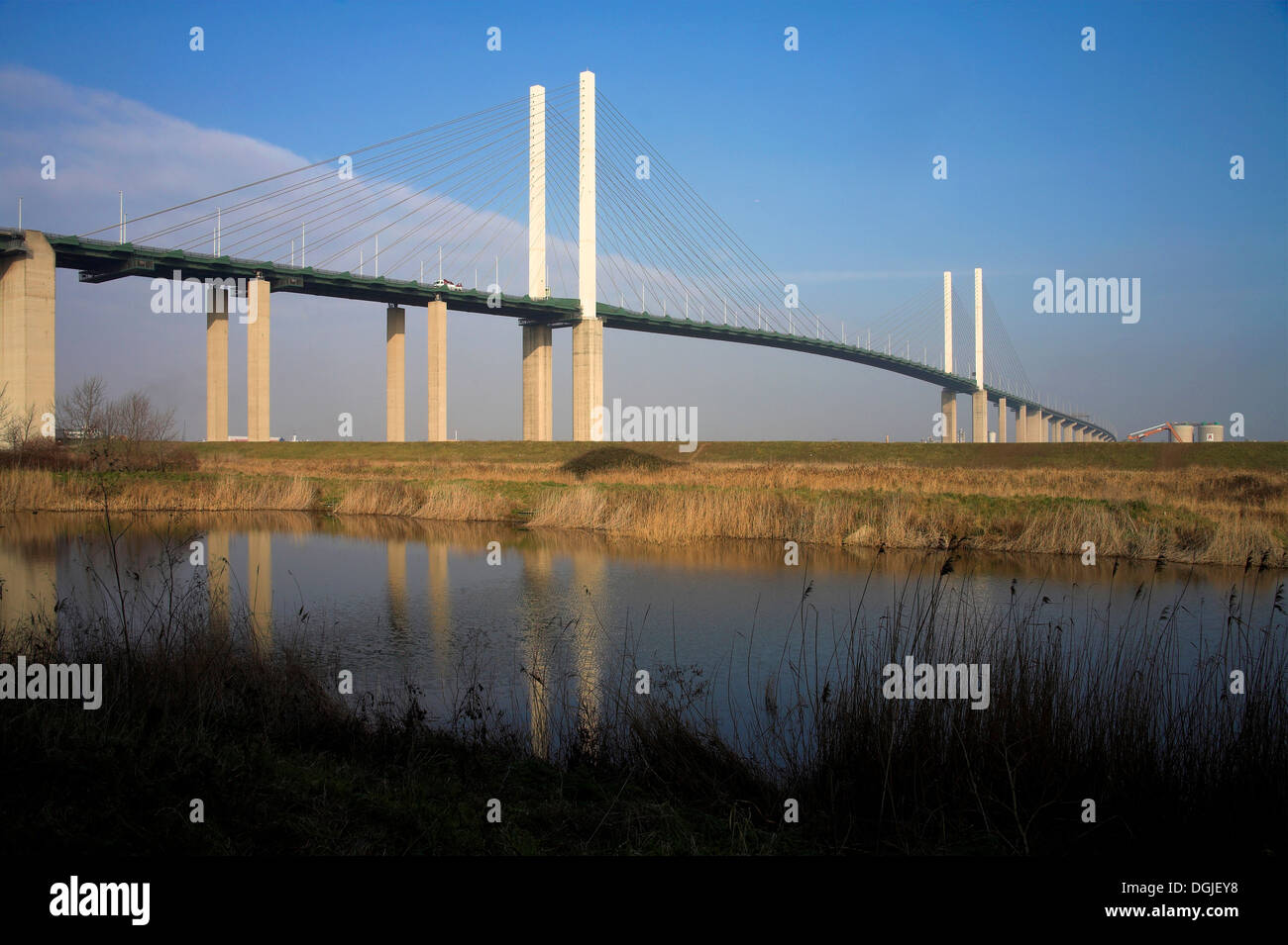 A view toward the QE 2 bridge at Dartford. - Stock Image