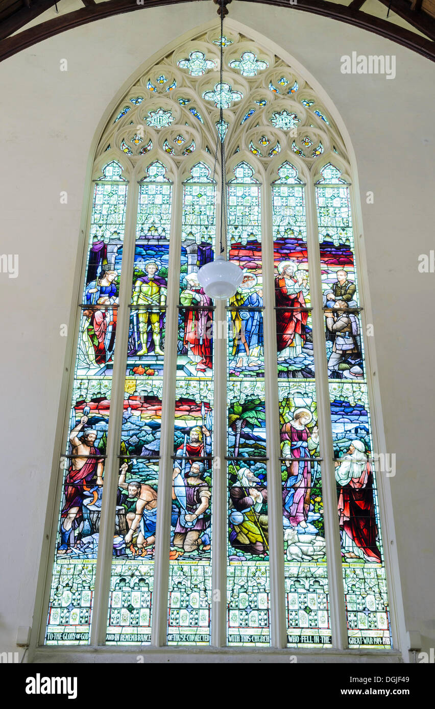 Stained-glass windows, First Church of Otago, a Presbyterian church, Victorian-style cathedral, Dunedin, South Island Stock Photo