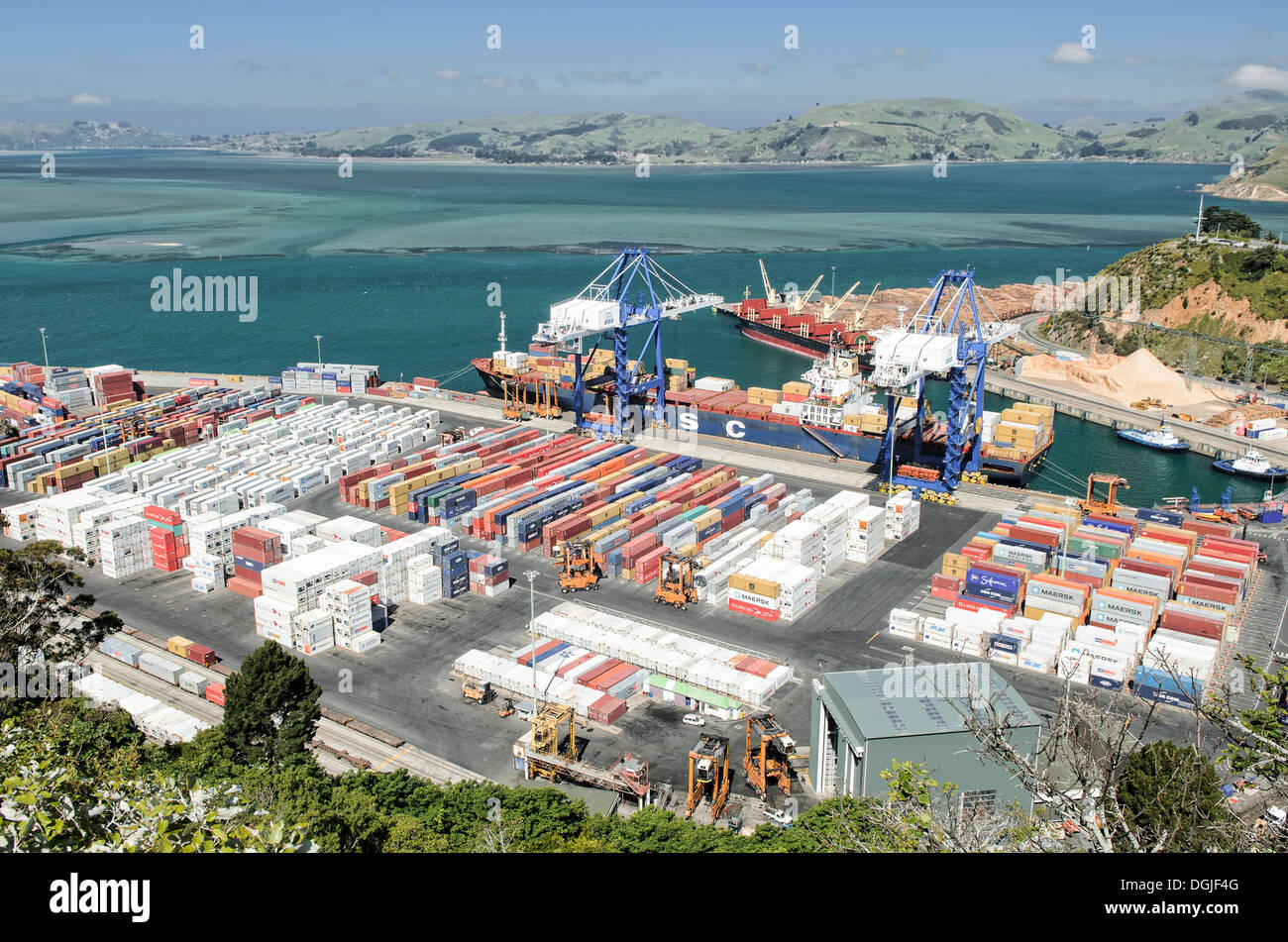 Port Chalmers, cargo port, container terminal, Dunedin, South Island, New Zealand, Oceania - Stock Image