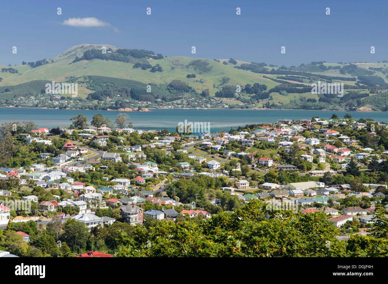 View of the suburb of Port Chalmers, Dunedin, New Zealand, Oceania - Stock Image