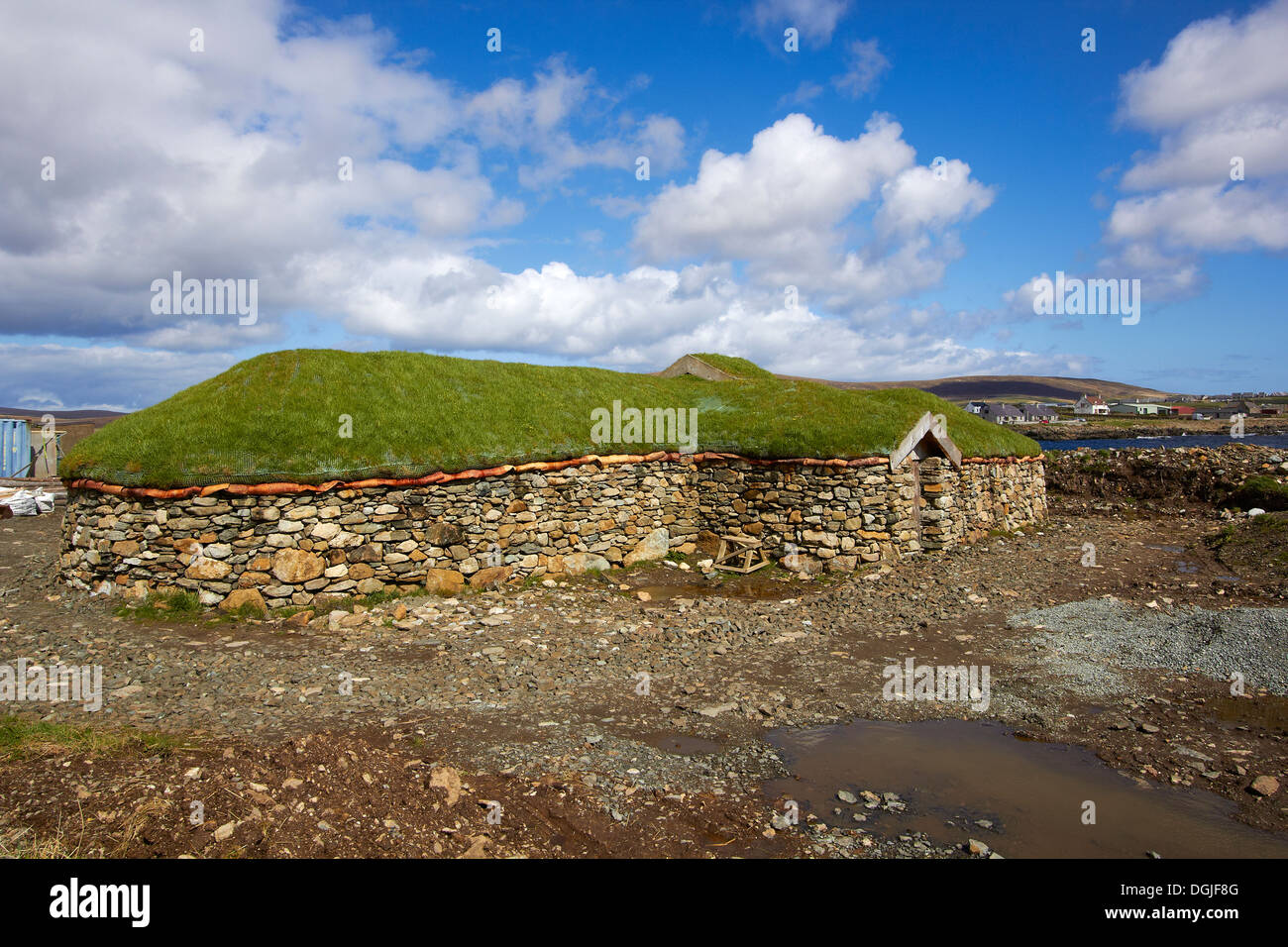 Replica Viking longhouse. - Stock Image