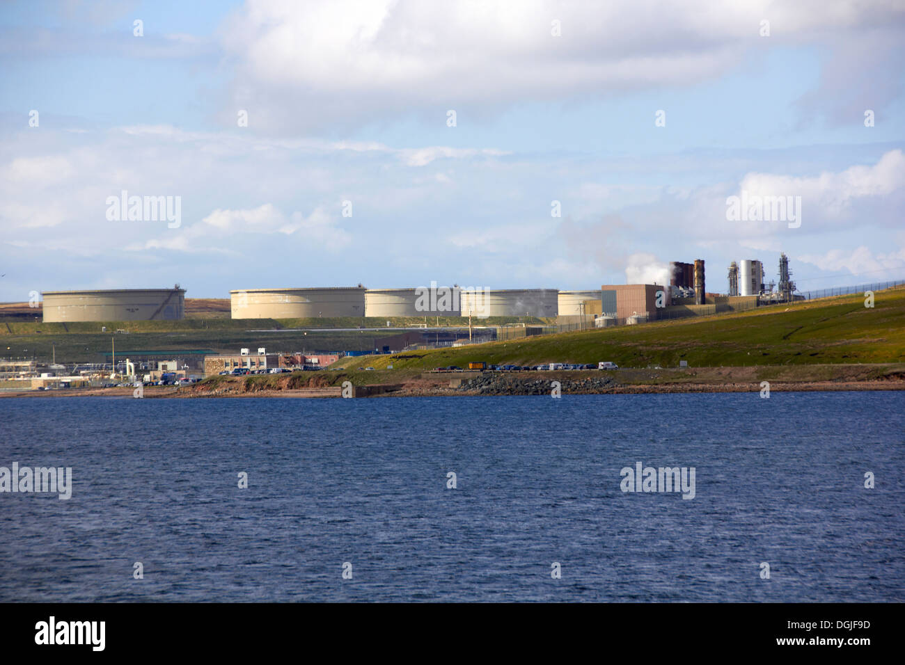 North Sea oil terminal at Sullom Voe. - Stock Image
