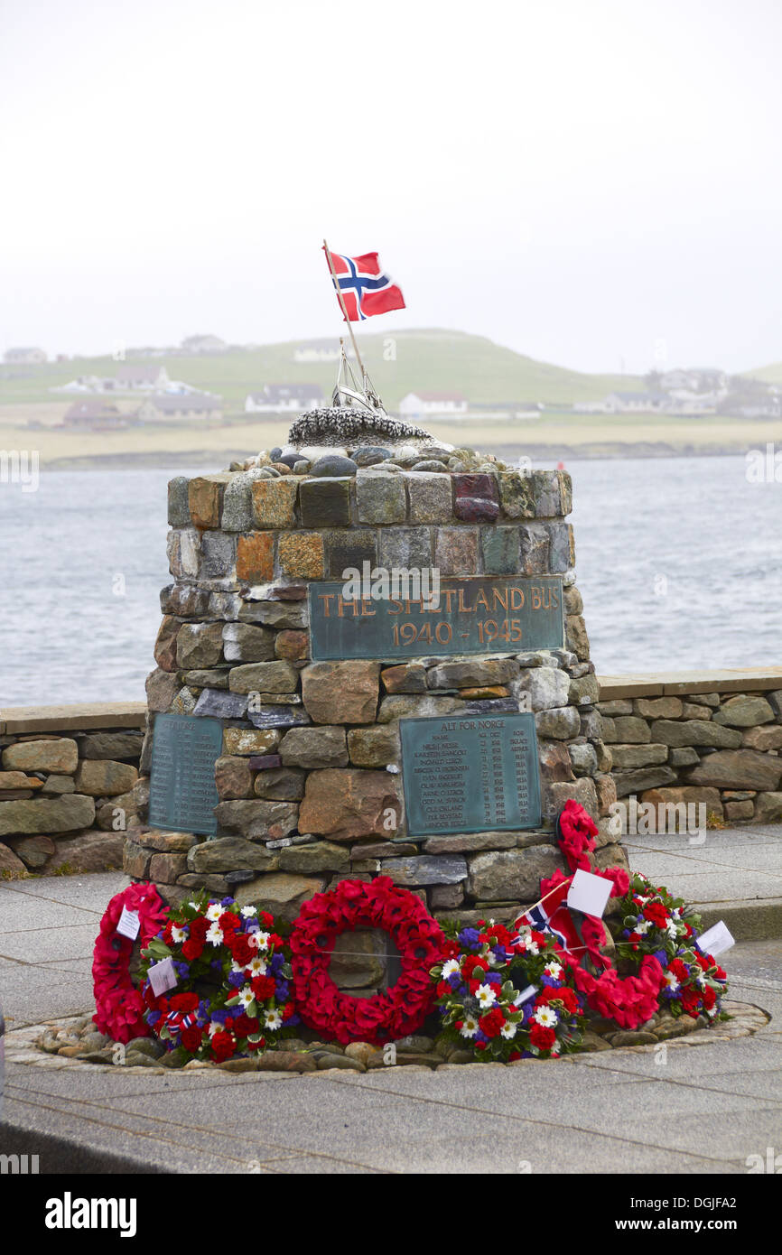 Memorial to the wartime Shetland Bus operation. - Stock Image