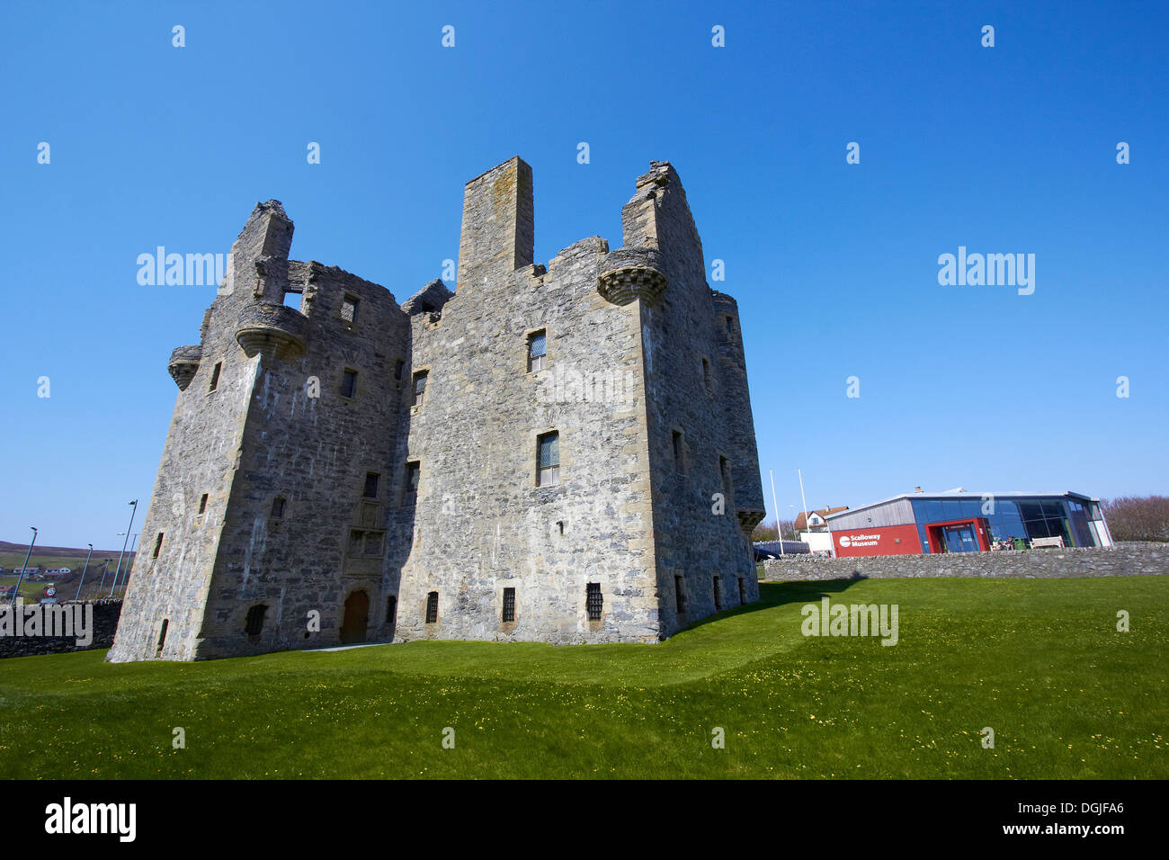 Scalloway Castle and museum. - Stock Image