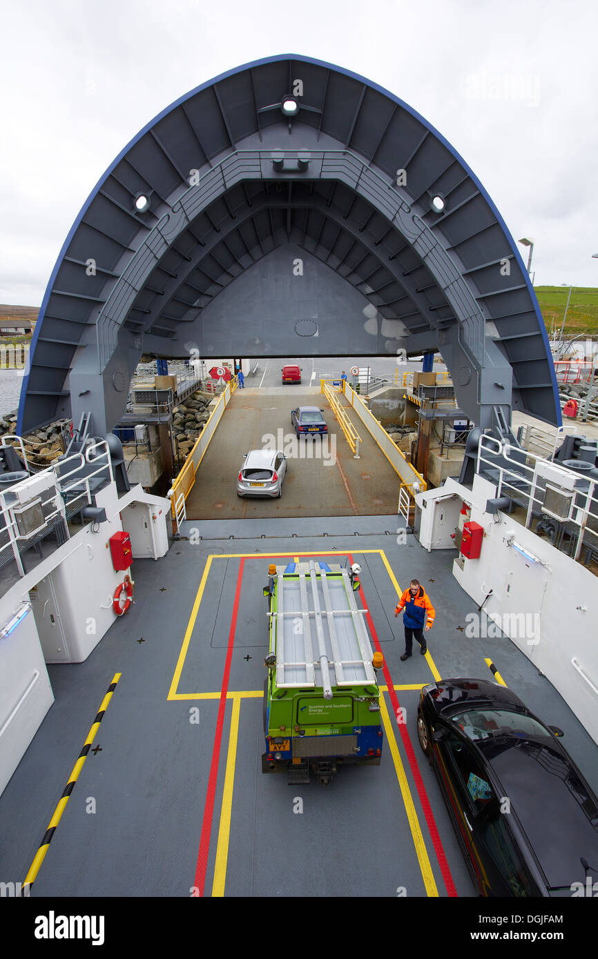 Unloading inter island ro ro car ferry. - Stock Image