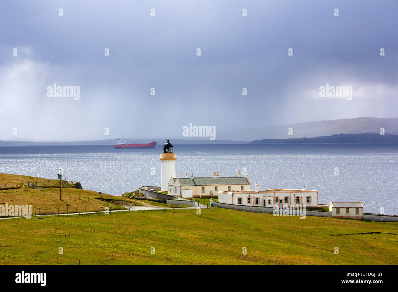 Kirkabister Lighthouse in Bressay. - Stock Image