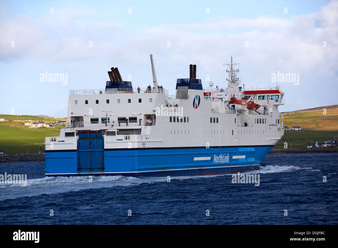 Northlink ferry leaving Lerwick. - Stock Image
