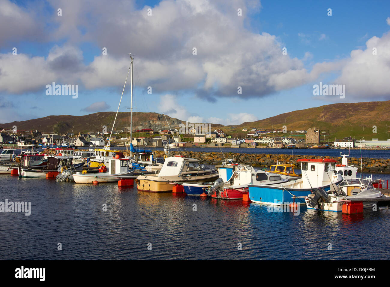 A view toward Scalloway which is the ancient capital of the Shetlands. - Stock Image