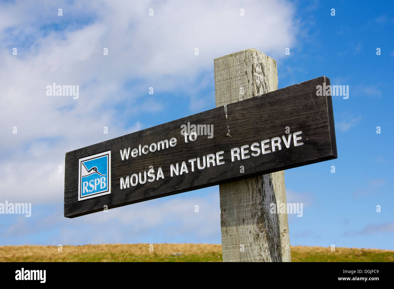 RSPB noticeboard on the island of Mousa. - Stock Image