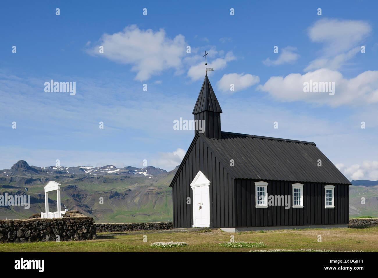 Church of Buðir or Fáskrúðsfjoerður, Snæfellsnes, Snæfellsness, Iceland, Europe - Stock Image