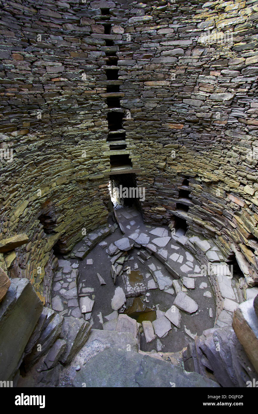 Mousa Broch interior. - Stock Image