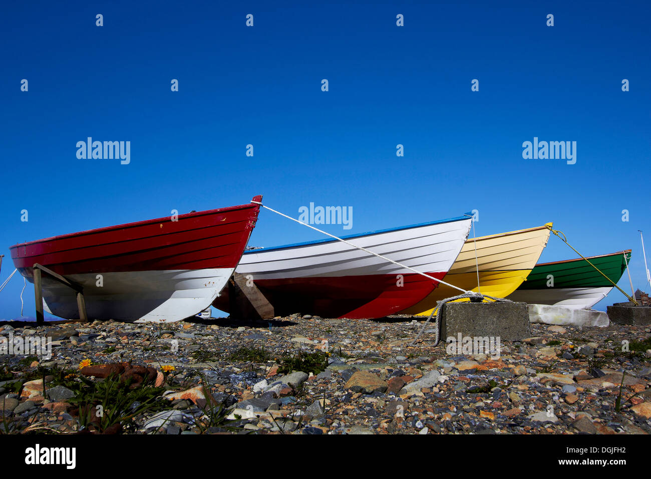 Fishing boats at Sandwick. - Stock Image