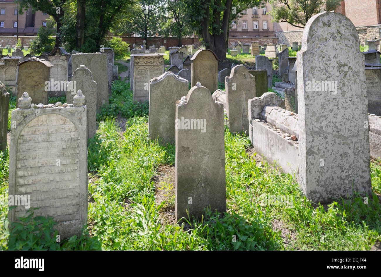 Jewish cemetery of Remuh Synagogue, Krakau, Woiwodschaft Kleinpolen, Poland - Stock Image