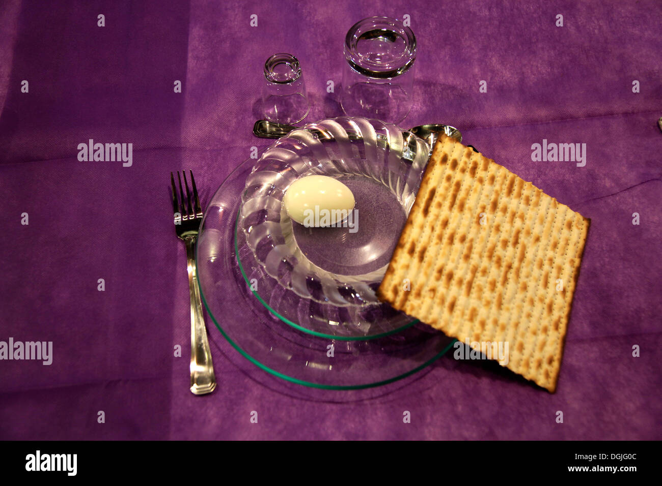 Matzo or matzah and an egg, Jewish Passover festival, Pesach, Haifa, Israel, Middle East - Stock Image
