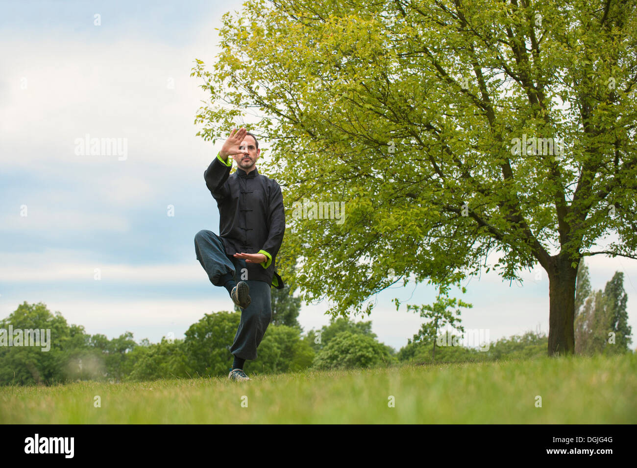 Mature man performing Tai Chi in countryside - Stock Image