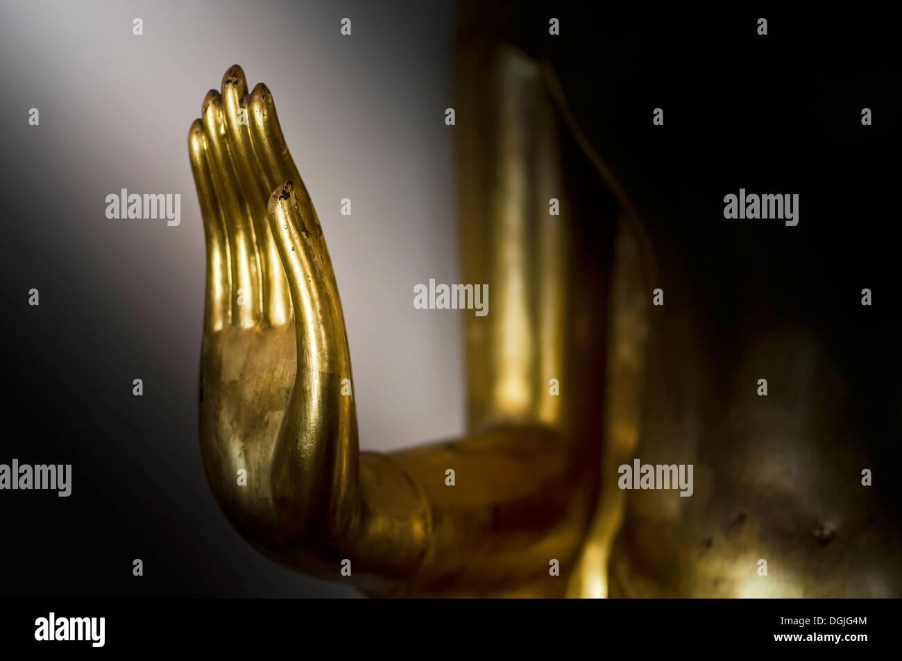 The hand of a Buddha at Wat Pho in Bangkok. Stock Photo
