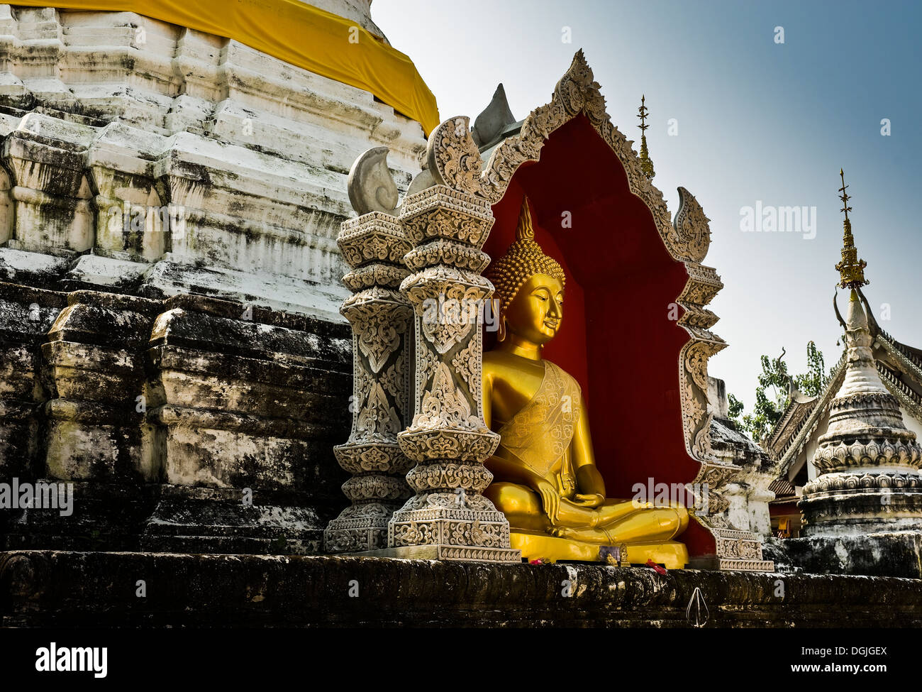 A Buddha at Wat Buppharam in Chiang Mai. Stock Photo