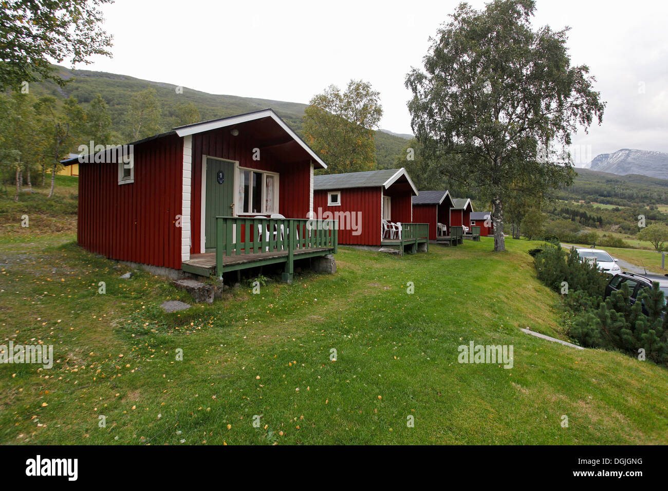 Cabins at a camping site near Geiranger Fjord, Møre og Romsdal, Norway, Northern Europe - Stock Image