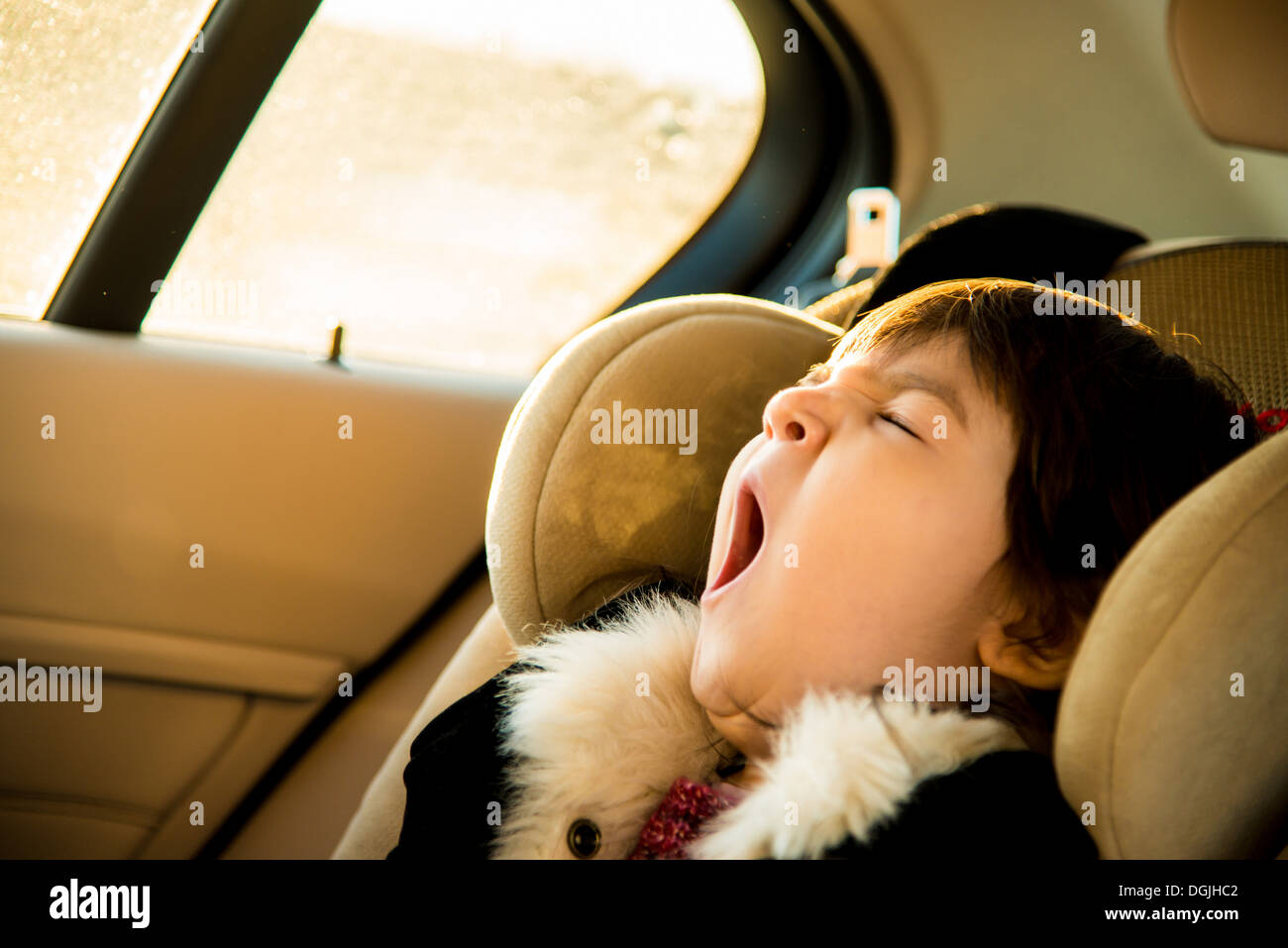 Young girl with eyes closed yawning in car Stock Photo