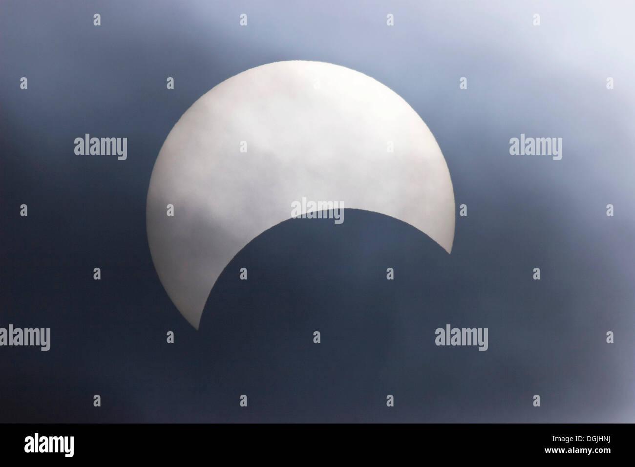 Partial solar eclipse on 03/10/2005, Penzberg, Upper Bavaria, Bavaria - Stock Image
