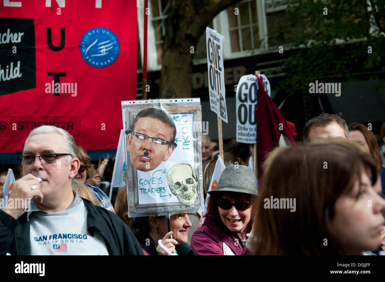 October 17th 2013. Teachers demonstrate against proposed changes to pensions - Stock Image