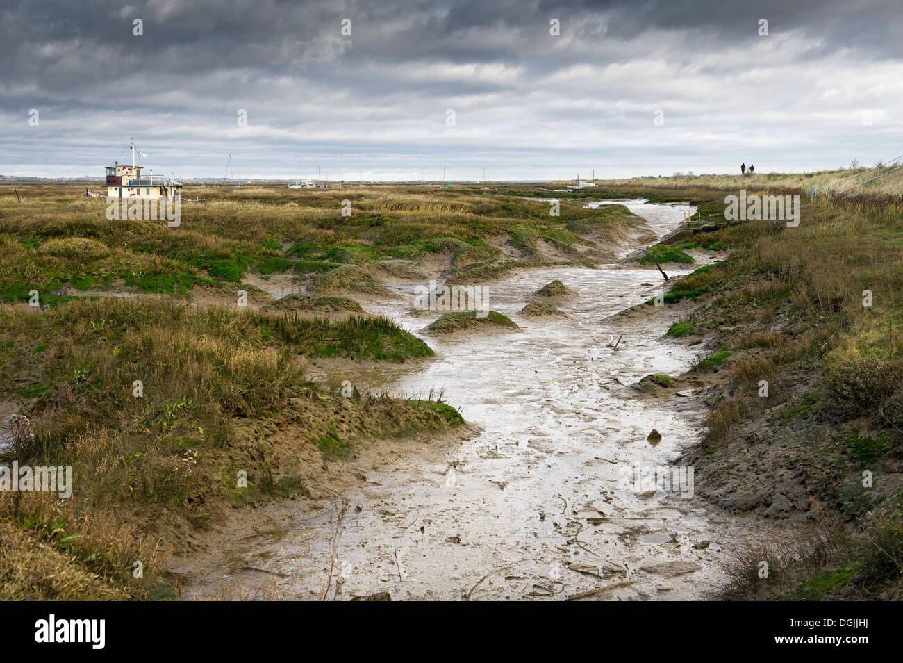 A view across Tollesbury Saltings. Stock Photo