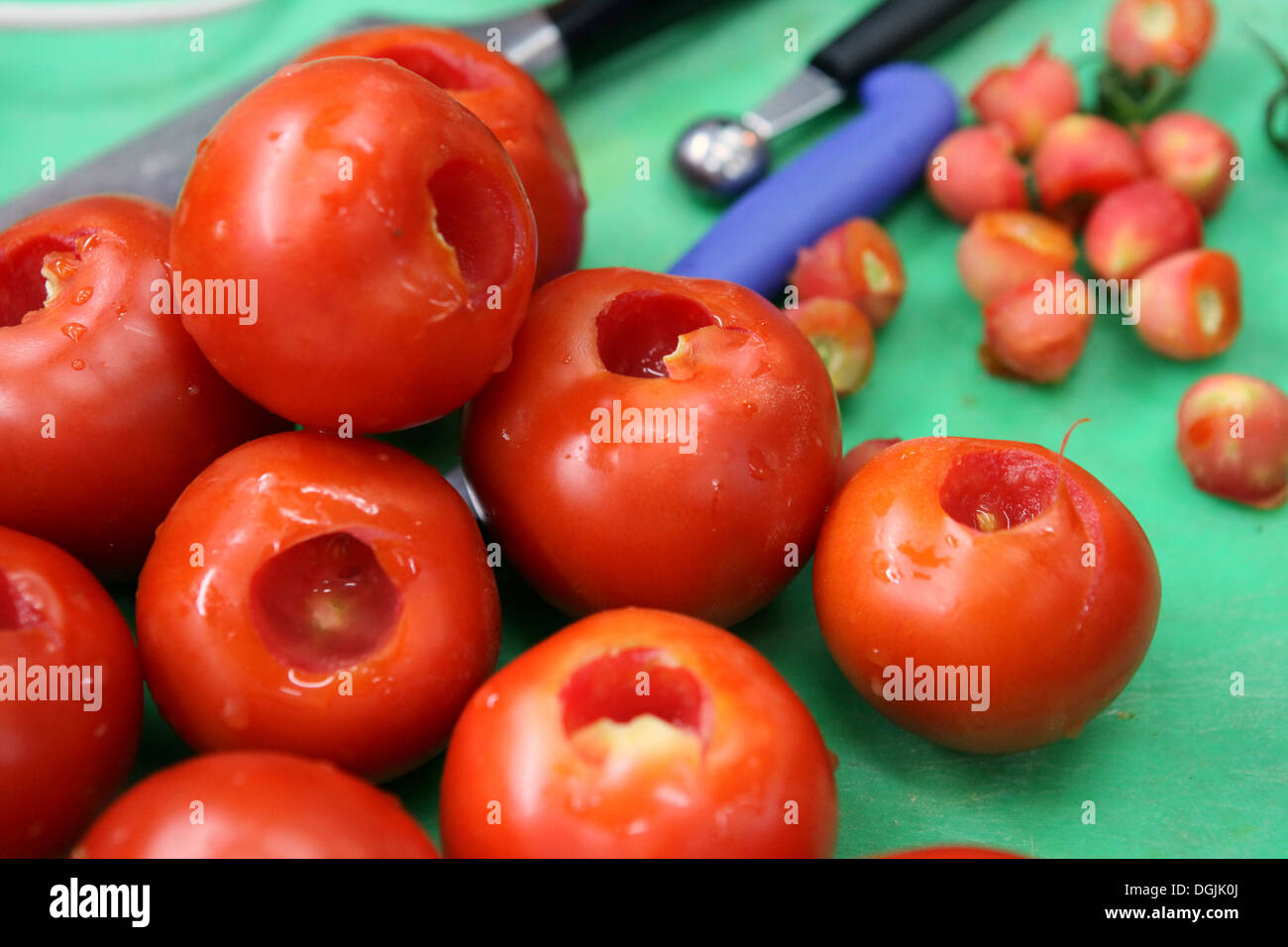 Stuffed tomatoes - hollow tomatoes ready for stuffing - Stock Image