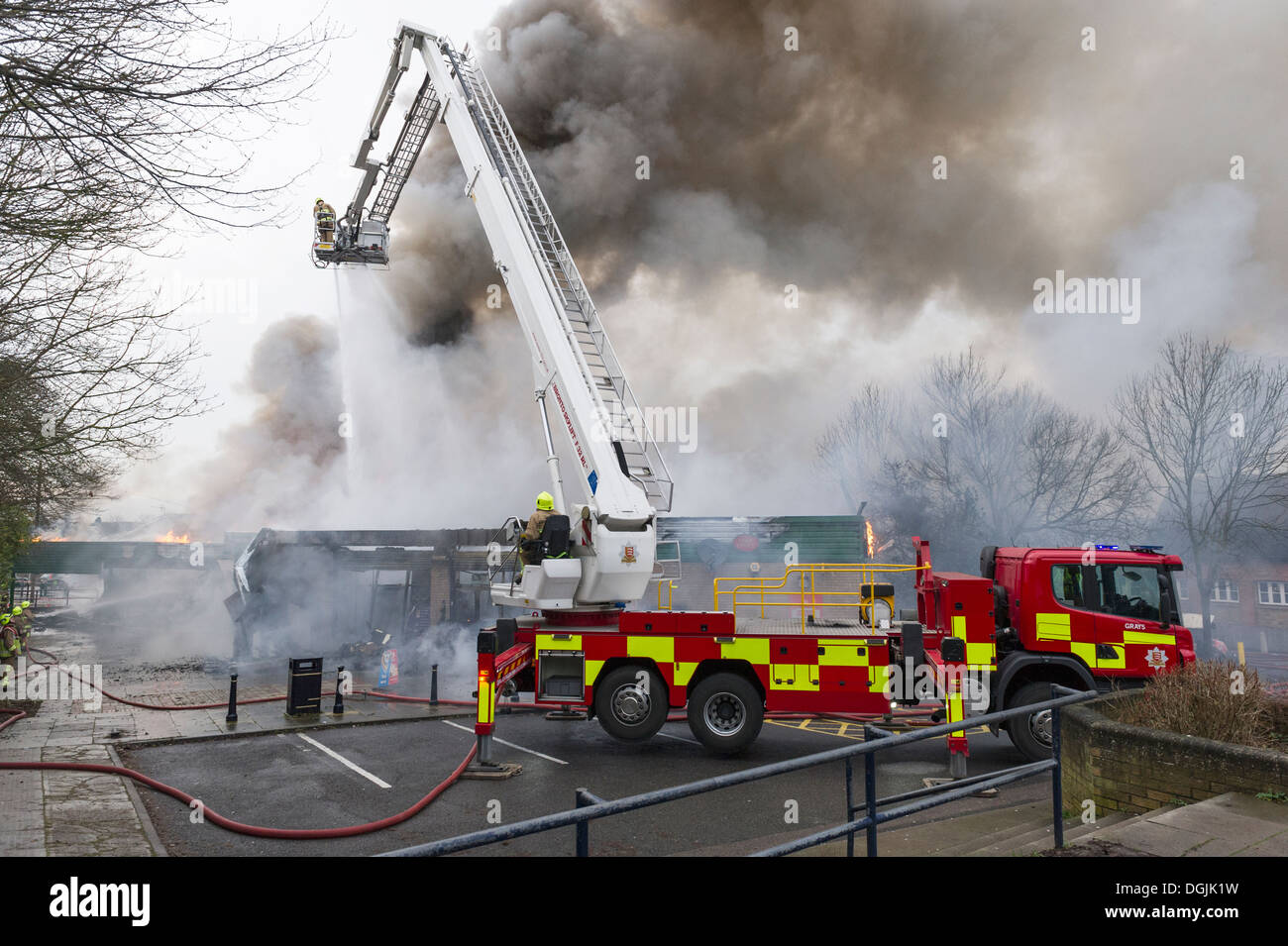 Essex Fire Service tackling a fire. - Stock Image