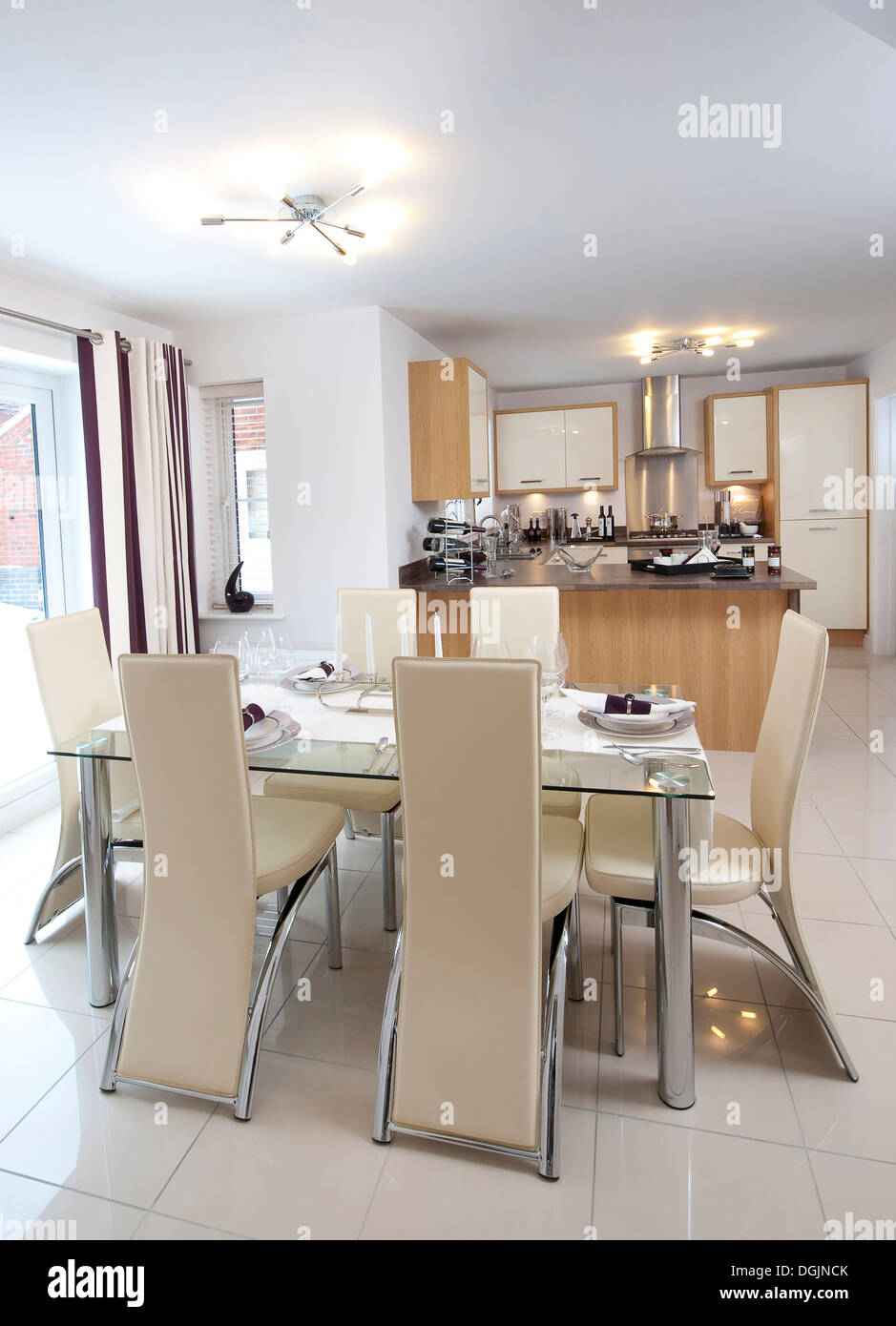 Beautiful contemporary open plan kitchen and dining area in a modern house