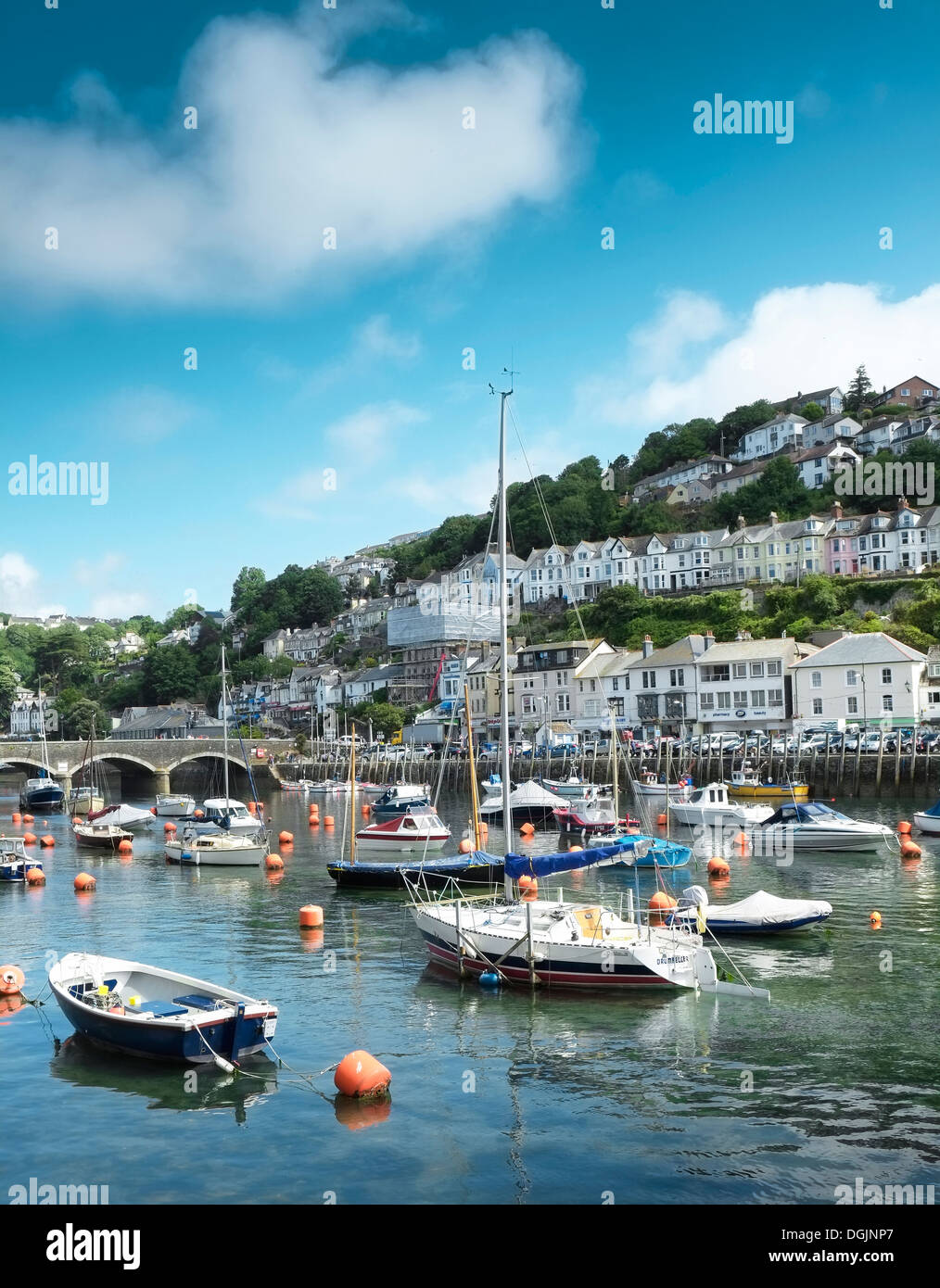 Boats moored in the harbour at Looe in Cornwall. - Stock Image