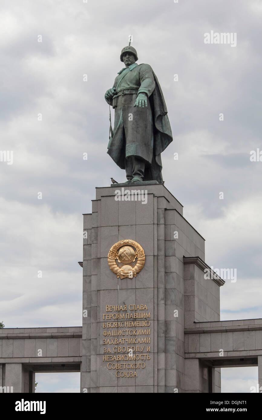 Soviet War Memorial to commemorate conquering Berlin in World War II, Berlin, Berlin, Germany - Stock Image