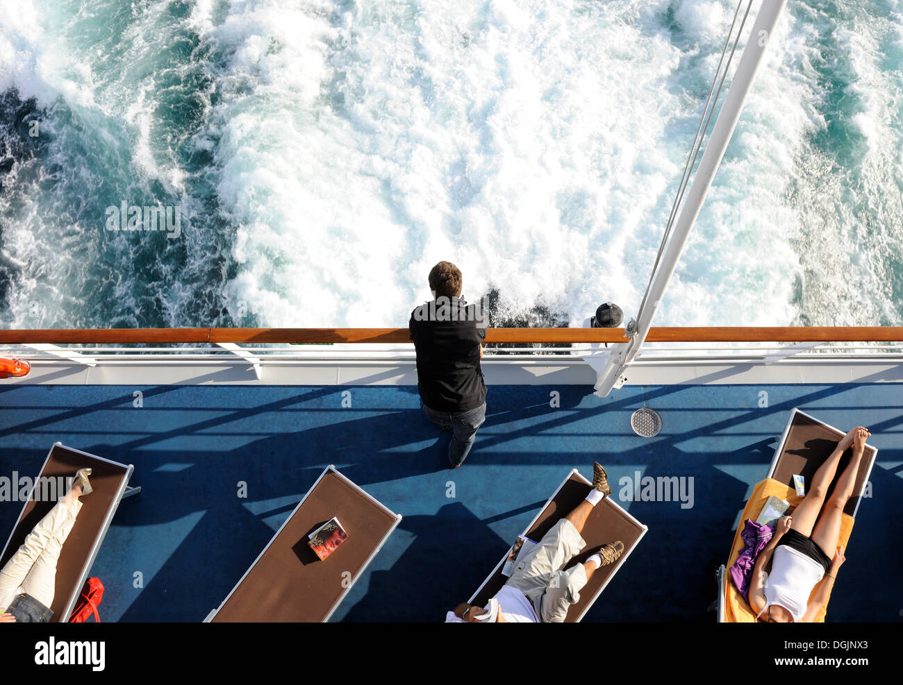 Passengers on a cruise, relaxation - Stock Image