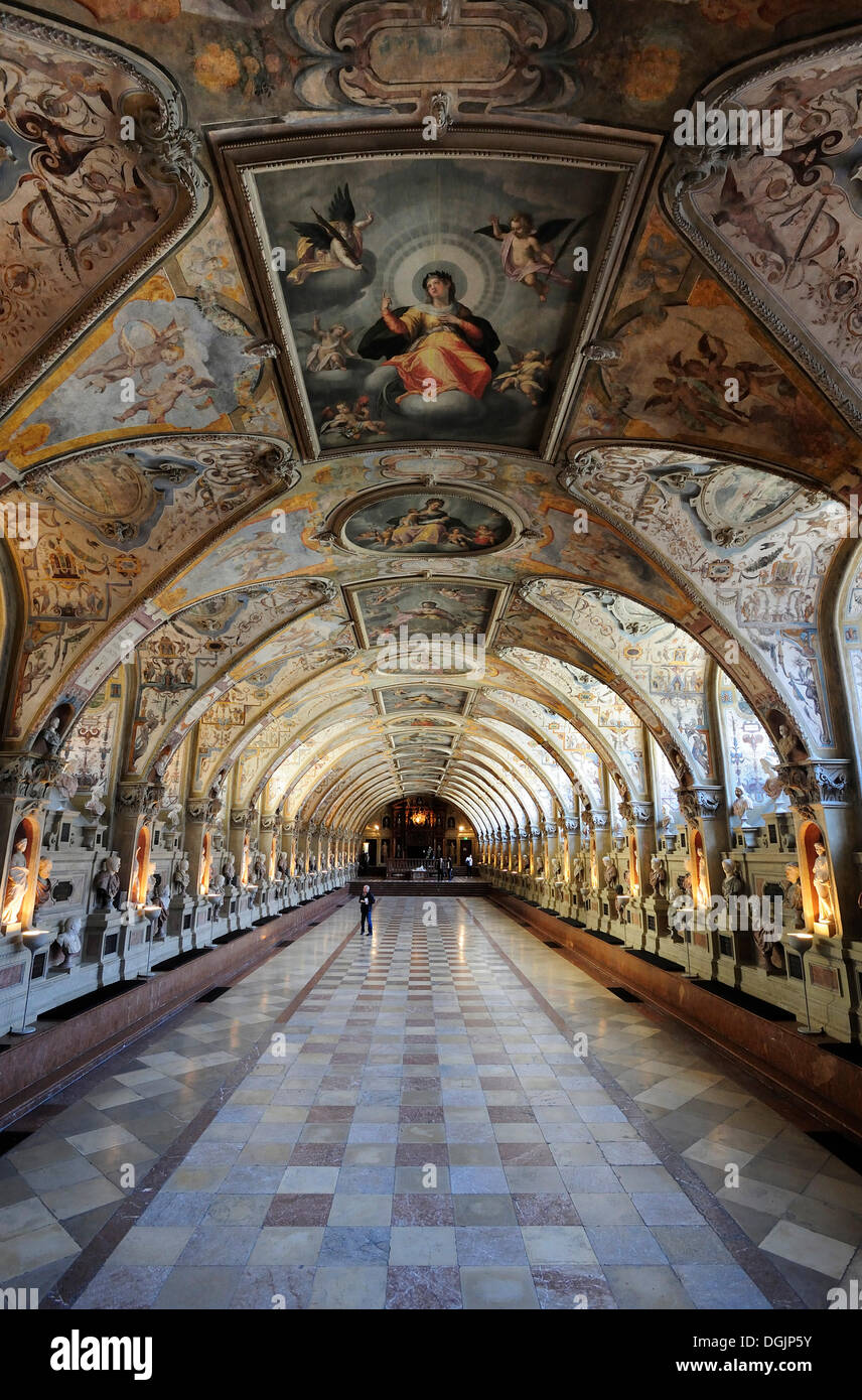 Antiquarium, Muenchner Residenz royal palace, home of the Wittelsbach regents until 1918, Munich, Bavaria - Stock Image