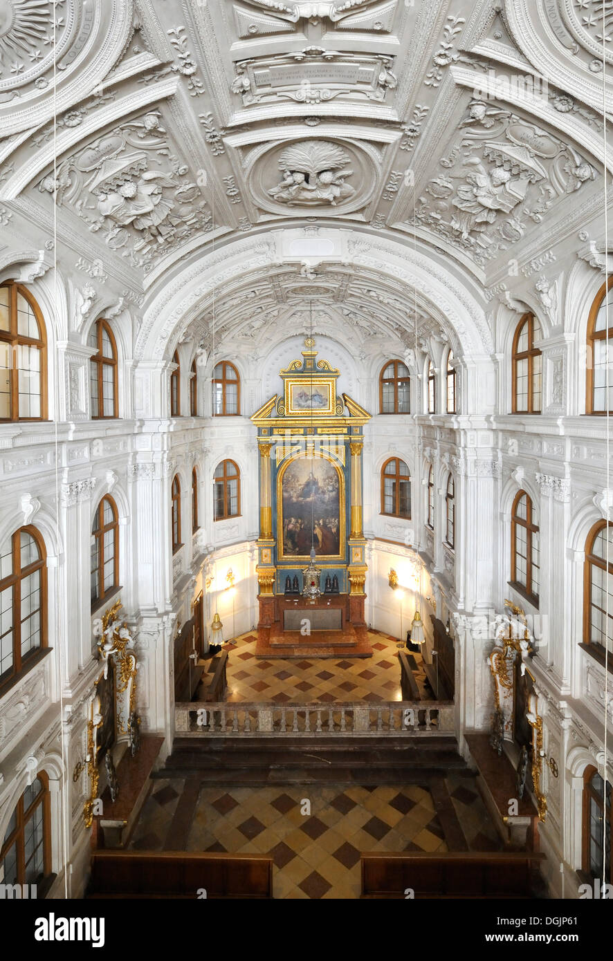 Court chapel, Muenchner Residenz royal palace, home of the Wittelsbach regents until 1918, Munich, Bavaria - Stock Image