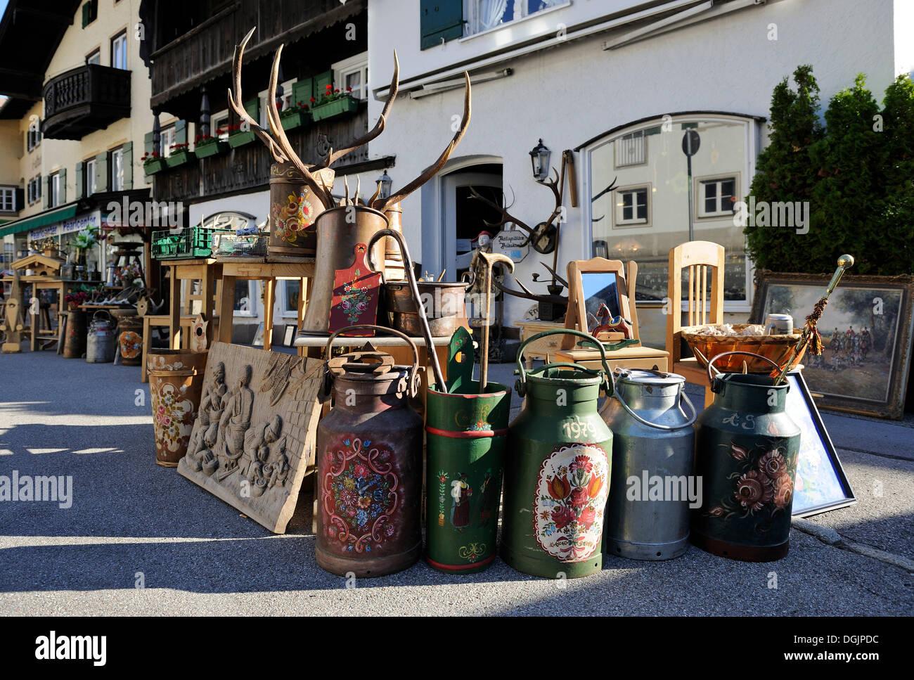 Antiques dealer's shop in Tegernsee, Upper Bavaria, Bavaria - Stock Image
