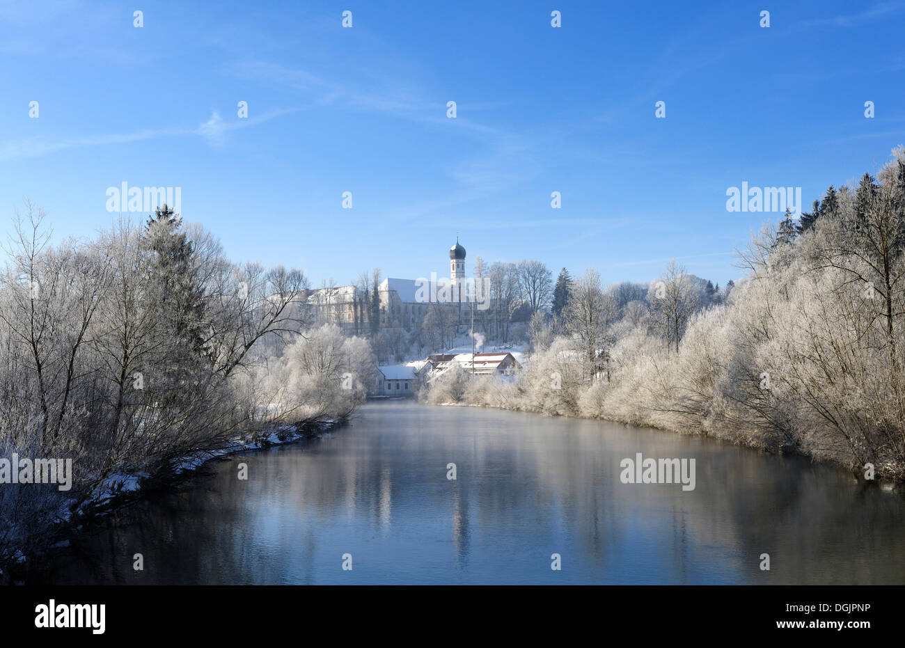 Loisach River and Beuerberg Abbey, district of Bad Toelz - Wolfratshausen, Upper Bavaria, Bavaria - Stock Image