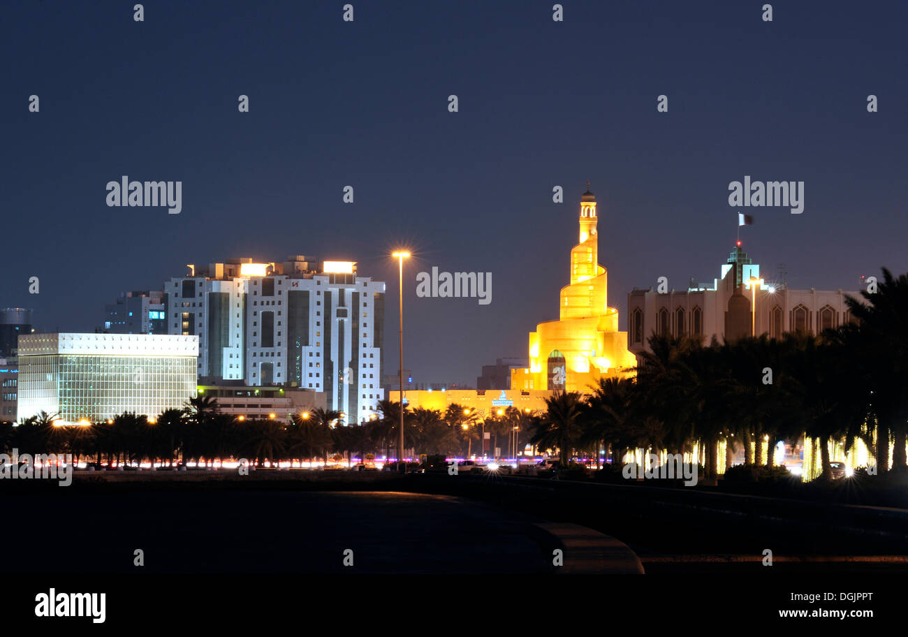 Evening mood, spiral-shaped tower of Fanar, Qatar Islamic Cultural Center, Doha, Qatar, Arabian Peninsula, Persian Gulf - Stock Image
