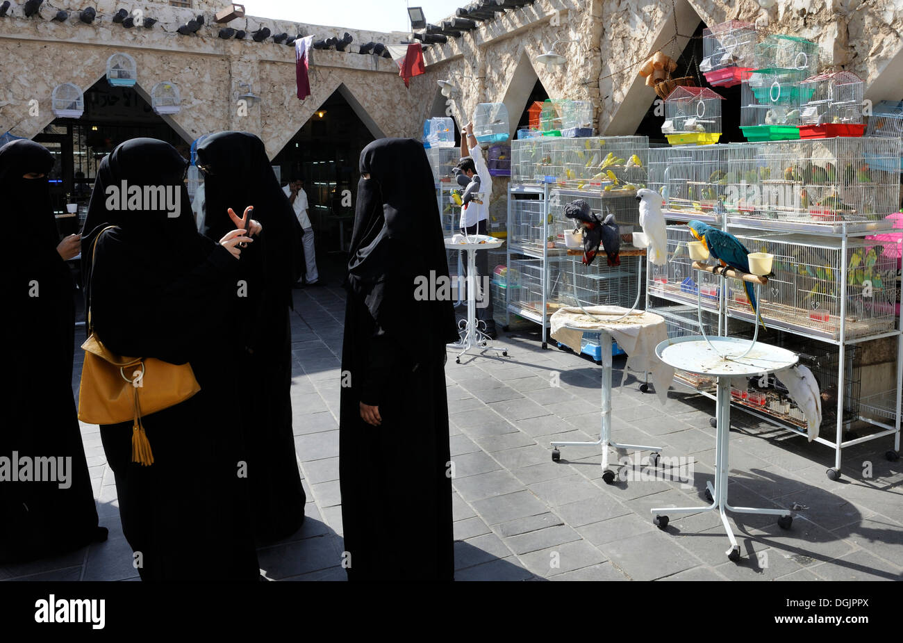 Womenwearing traditional burqa taking photographs of each other at the animal market in Souq al Waqif, the oldest souq or bazaar - Stock Image