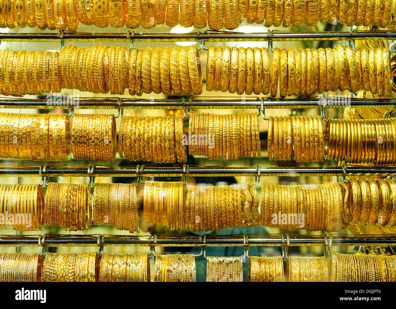 Gold Jewellery In The Gold Souk Of Deira Dubai United Arab Stock