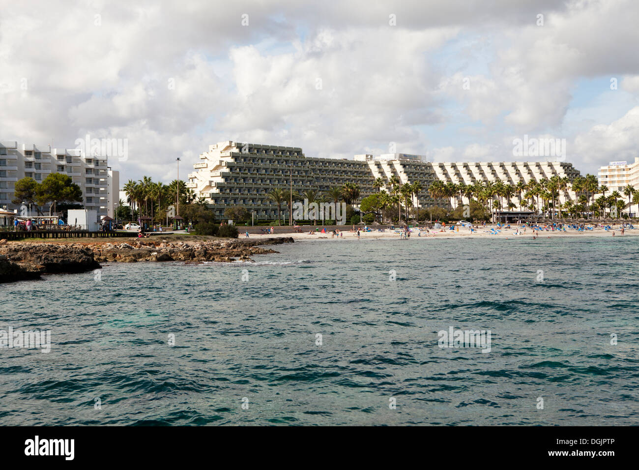 View of Sa Coma in Majorca from the sea - Stock Image